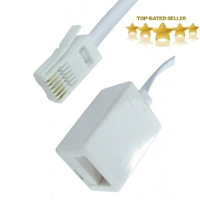 15m Metre RJ11 UK Male To UK Female BT Fax Modem LeadTelephone Extention Cable