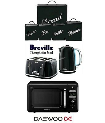 Breville Kettle and Toaster Set & Daewoo Microwave & 5 Piece Canister Set New