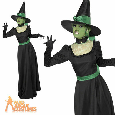 Adult Wicked Witch Costume Ladies Halloween Fancy Dress Witches Outfit UK 8-18