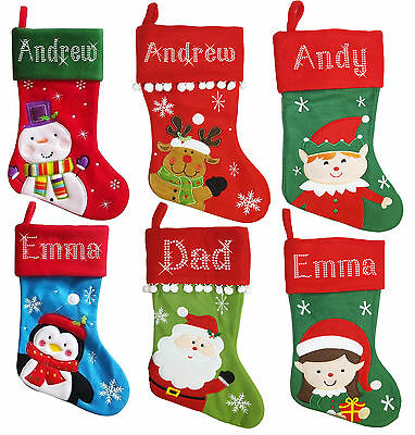 LARGE Personalised Christmas Crystal Santa Snowman Reindeer Penguin Stockings