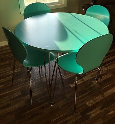 Vintage Mid Century Modern Style Aqua Table & 4 Chairs Kitchen Dining Wood Metal
