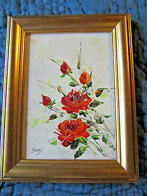 VINTAGE rose floral flower original oil PAINTING signed hand painted by Janey