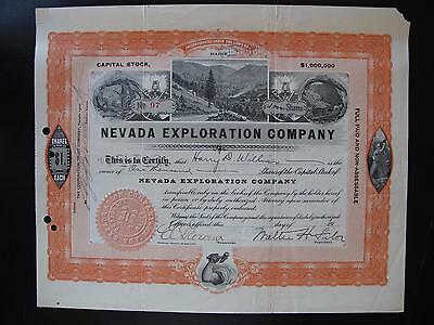 Nevada Exploration Company Stock Certificate 1907 Pictorial (NV Mining)
