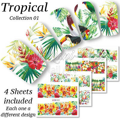 4x Full Cover Nail Water Stickers Wraps Transfers Tropical Holiday Flowers BN021