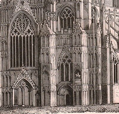 Gravure XIXe Cathédrale d'York Minster Angleterre England Cathedral