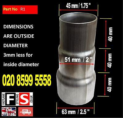 """3 Part Stainless Steel Exhaust Pipe Reducer Sleeve Universal 1.75"""" to 2.5"""""""