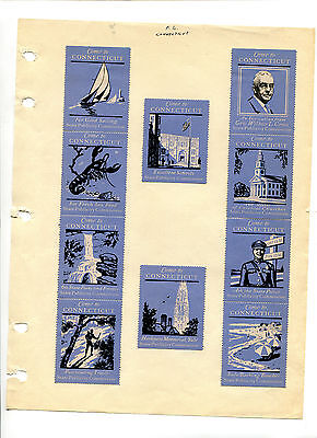 Vintage Poster Stamp Labels set of 25 COME TO CONNECTICUT blue State Publicity