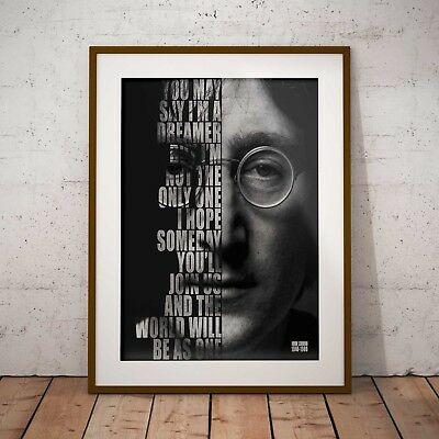 John Lennon Imagine Lyrics Three Print Options or NEW A3 Framed Poster EXCLUSIVE