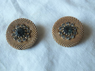 """Collectible Clip Earrings Gold Tone Mesh Disks Smoky Rhinestones 1"""" Vintage"""