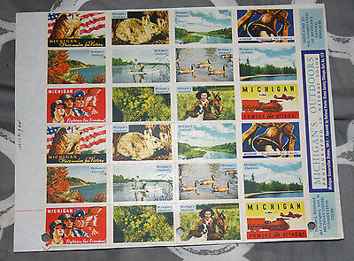 Poster Stamp Label pane set of 24 1944 MICHIGAN'S OUTDOORS Conservation Club #IM