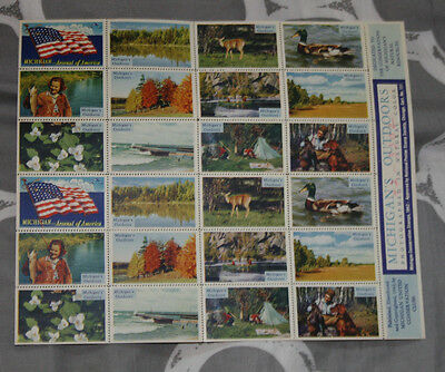 Poster Stamp Label pane set of 24 1942 MICHIGAN'S OUTDOORS Conservation Club #IM