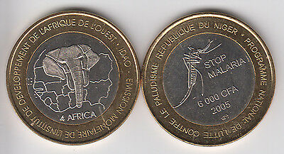 NIGER 6000 CFA 2005 bimetal Mosquito, not legal tender coinage