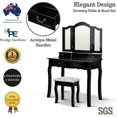 Black Dressing Table Mirror Stool Set Drawer Cabinet Jewellery Organizer Vintage