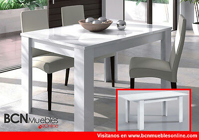 Mesa de comedor Lux en color blanco brillo