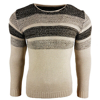 Subliminal Mode - Pull Over Rayé Homme Tricot SB-6218 Grosse Maille