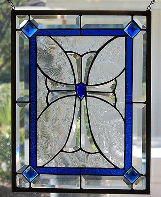 Stained Glass Cross window hanging 17 3/4 X 13 3/4
