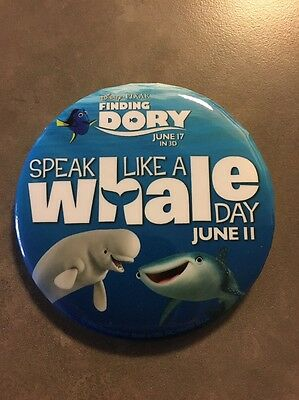 Finding Dory Speak Like A Whale Day Button Pin from Disneyland!