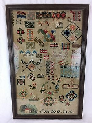 Original AAFA Primitive Folk Art Large Sampler 1856