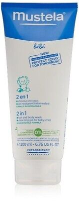 Mustela 2-in-1 Hair and Body Wash cleansing Gel for baby, 6.76 Ounce,200 ml,