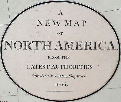1806 Large Antique Map Chart John Cary North America Hand-Color Folio