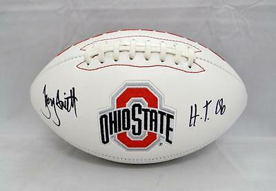 Troy Smith Autographed Ohio State Buckeyes Logo Football W/ H.T.- JSA W Auth