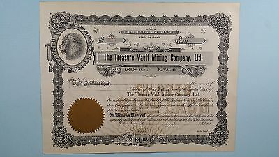 Vintage*THE TREASURE VAULT MINING COMPANY* Stock Certificate