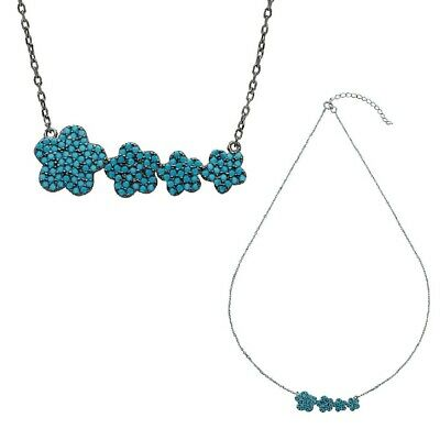 Sterling Silver Black Rhodium Plated Necklace w/Turquoise Stones Flowers Pendant
