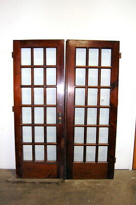 Antique Pine 18 Lite French Door Set, Architectural Salvage
