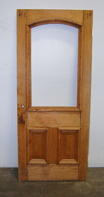 Antique Pine Cottage Entry Door w/ Arched Window, Architectural Salvage