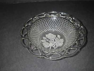 """Imperial Glass LACED EDGE """"Katy"""" Clear Floral Frosted Bowl Elegant Depression"""