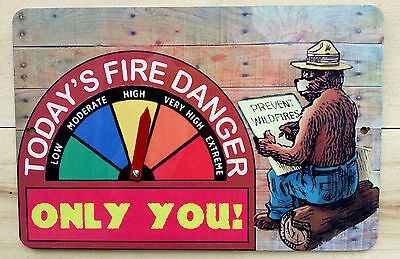Smokey Bear Fire Danger Warning Sign W Gauge! U.s. Forest Service Vintage Design
