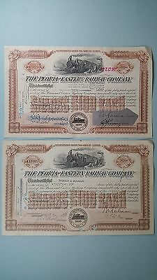 Vintage Stock Certificates(2)*PEORIA AND EASTERN RAILWAY COMPANY*1960 1968