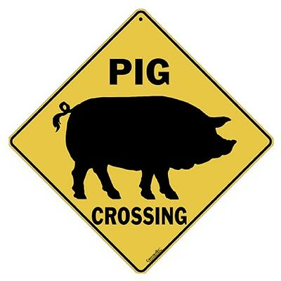 Pig Crossing Sign NEW 12X12 Metal Silhouette