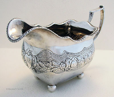 Rare IRISH 1813 George III GEORGIAN Solid Silver ANTIQUE CREAMER CREAM MILK JUG