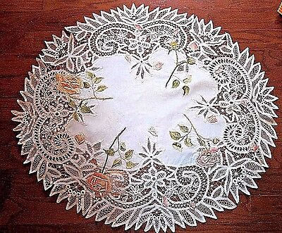 Tea Tablecloth German Tape Lace~Finest Executed stitches~w/silk embroidery