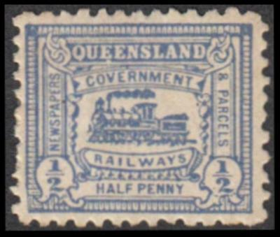 Queensland 1901 Railway Parcel Stamp ½d blue Locomotive mint