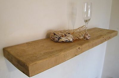 Rustic Floating Shelf Made With 5cm Thick Reclaimed Wood Mantel in Pine and Oak