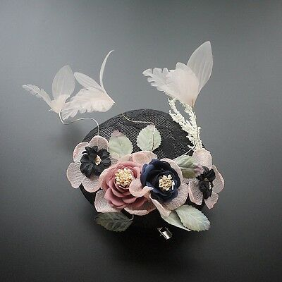 Ladies Fascinator Spring racing Wedding Party Hat Round Colourful flower Lace