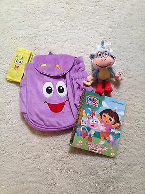 New Nickelodeon Dora Backpack Set Purple Plush(Pre-school+)Map,Book,Boots Monkey