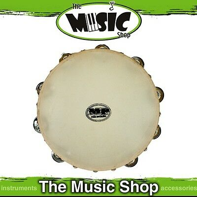 "New Mano Percussion 10"" Wooden Tambourine with Natural Skin Head - ED617"