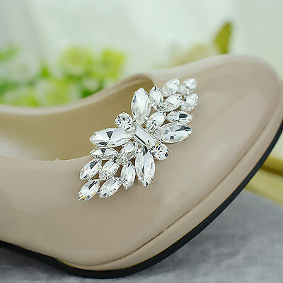 1 Pc Crystal Butterfly High-heel Shoe Charms Jibbitz Shoes Clip Buckle Removable