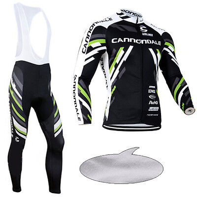 Winter Thermal Fleece Long Sleeve Men's Team Cycling Jersey Bib Pants Outfits