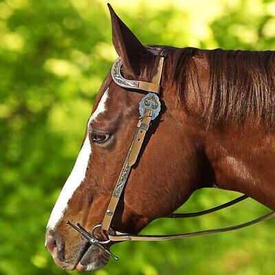 NEW Tan Leather WESTERN SHOW Bridle With Split Reins and Silver Trim COB FULL