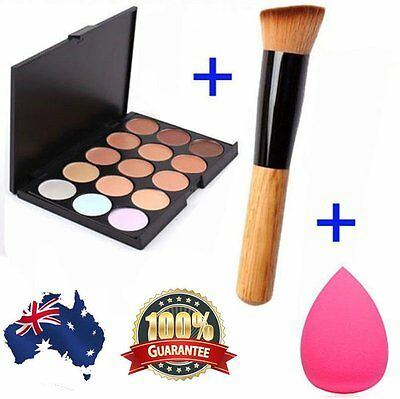 15 Colors Contour Face Cream Makeup Concealer Palette Sponge Powder Brush AUIB@