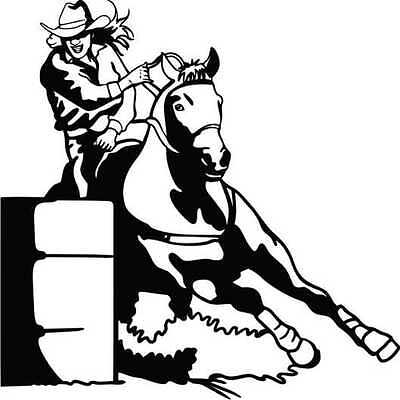 Barrel racing decal sticker for car truck float ute fridge shed