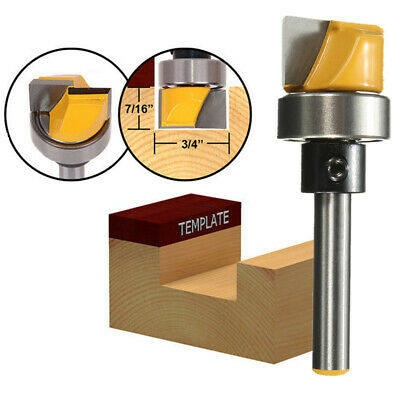 "3/4""W X 7/16""H-1/4'' Shank Hinge Mortise Template Router Bit for Solid Wood UK"