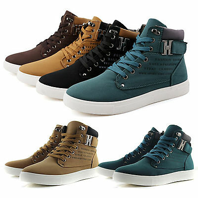 Fashion Men's Canvas High Top Ankle Boots Trainers Pumps Shoes Casual Sneakers
