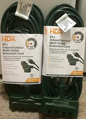 (2-PACK) ~ HDX 25' Indoor/Outdoor 16 Gauge Multi-Outlet Extension Cord