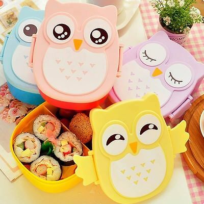 Cute Cartoon Owl Lunch Box Food Container Storage Box Portable Bento Box Spoon #
