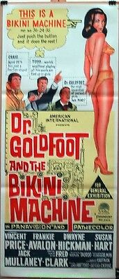 DR. GOLDFOOT AND THE BIKINI MACHINE MOVIE POSTER AUSTRALIAN 13x30 VINCENT PRICE